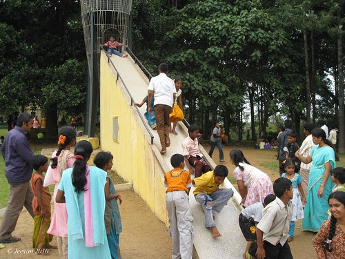 Children enjoy sliding