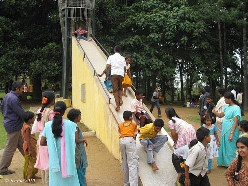 Children enjoy sliding