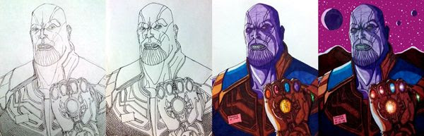 Work-in-progress photos of my Thanos drawing.