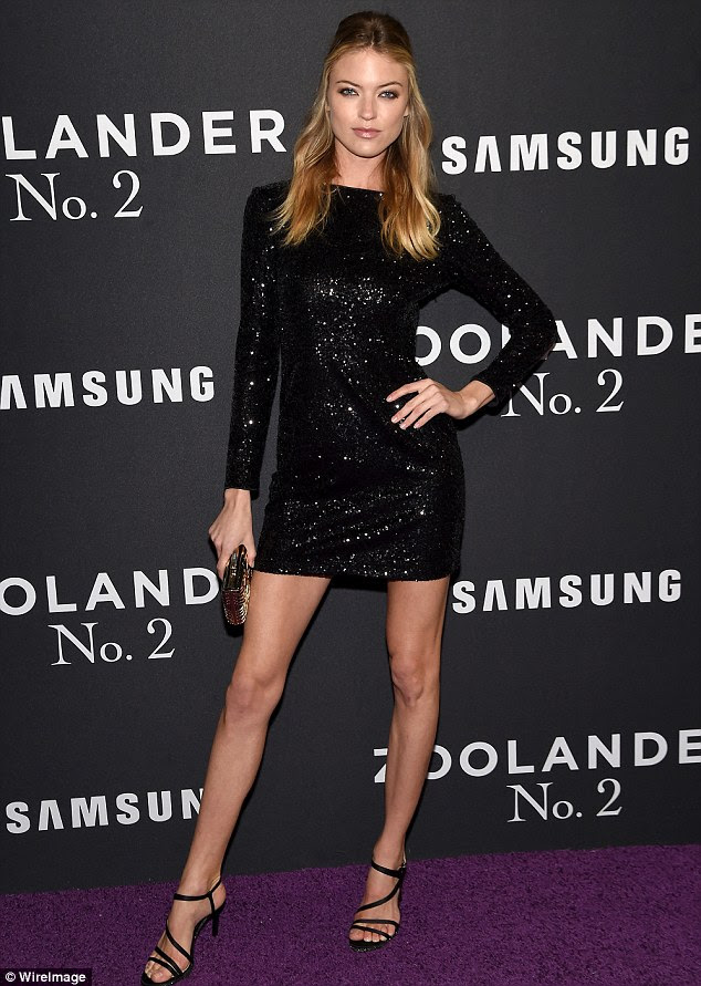 Leggy look: Martha Hunt, 26, shimmered in a little black dress