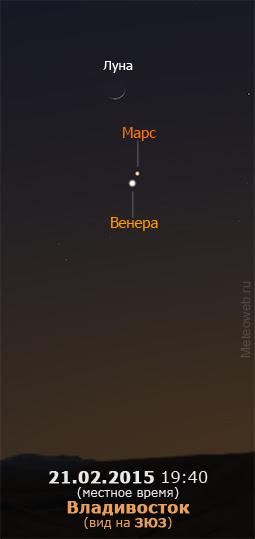 Растущая Луна, Венера и Марс на вечернем небе Владивостока 21 февраля 2015 г.