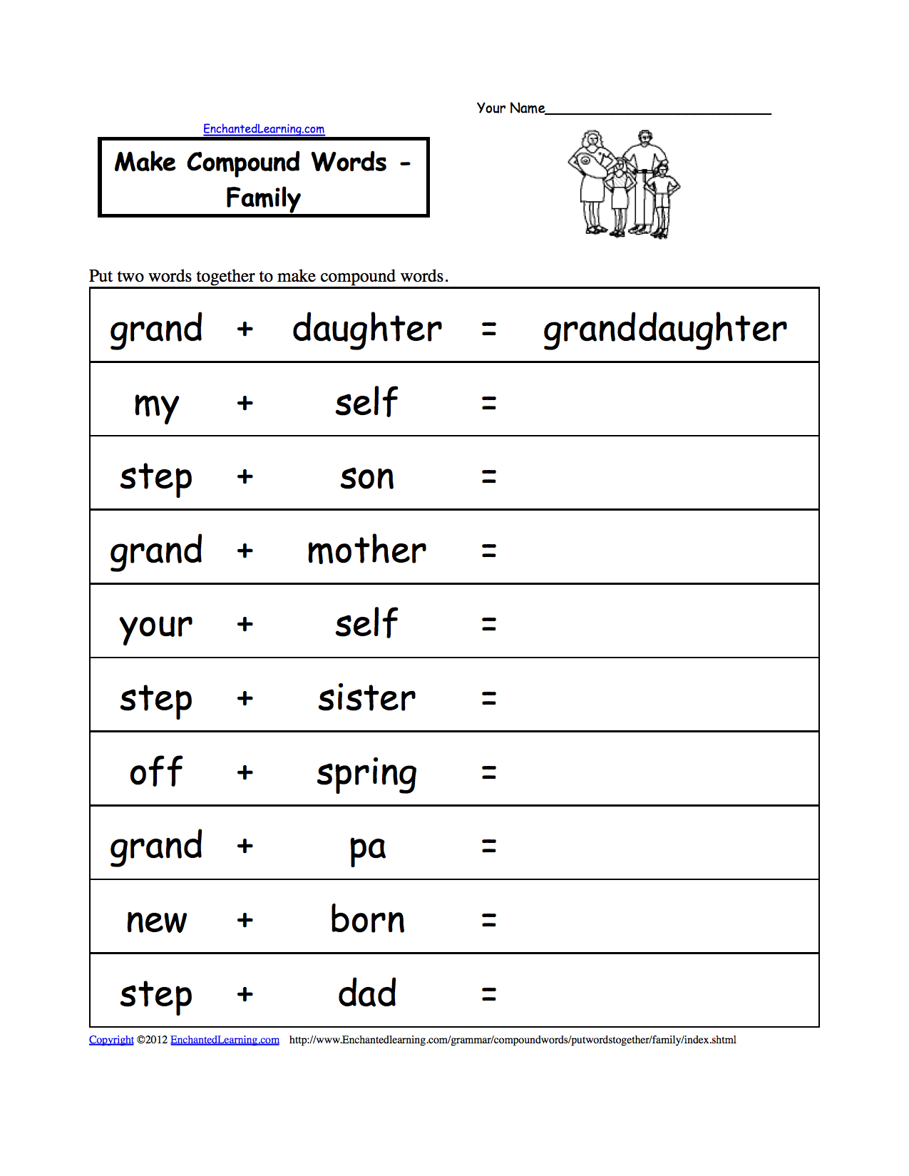 two printable make together family to words italian worksheets worksheet family words in put  family
