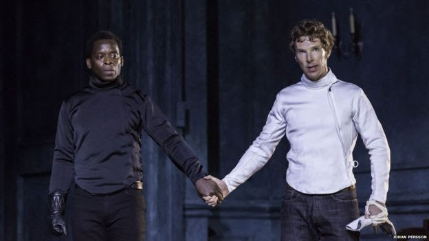 Kobna Holdbrook-Smith (Laertes) and Benedict Cumberbatch (Hamlet) in Hamlet at the Barbican Theatre.