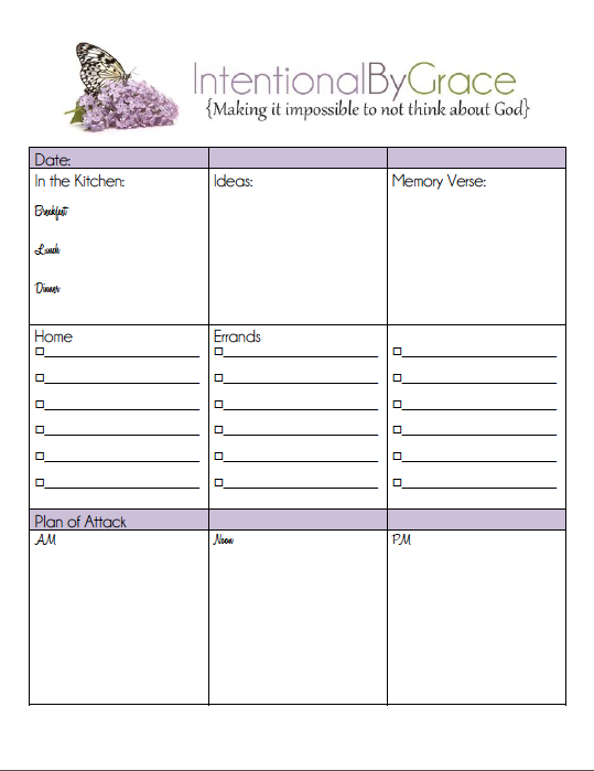 Daily To Do List for the Intentional Woman {Printable ...