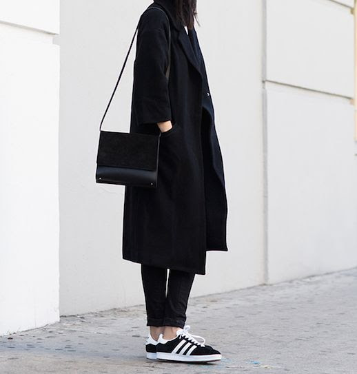 Le Fashion Blog 25 Ways To Wear Adidas Sneakers Black On Black And White Stripes Coat Jeans Via Andy Heart