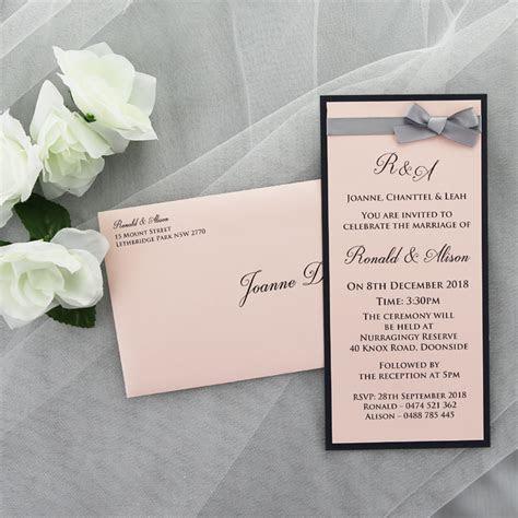 Pink Navy Wedding Invitation   Red Rose Invitations