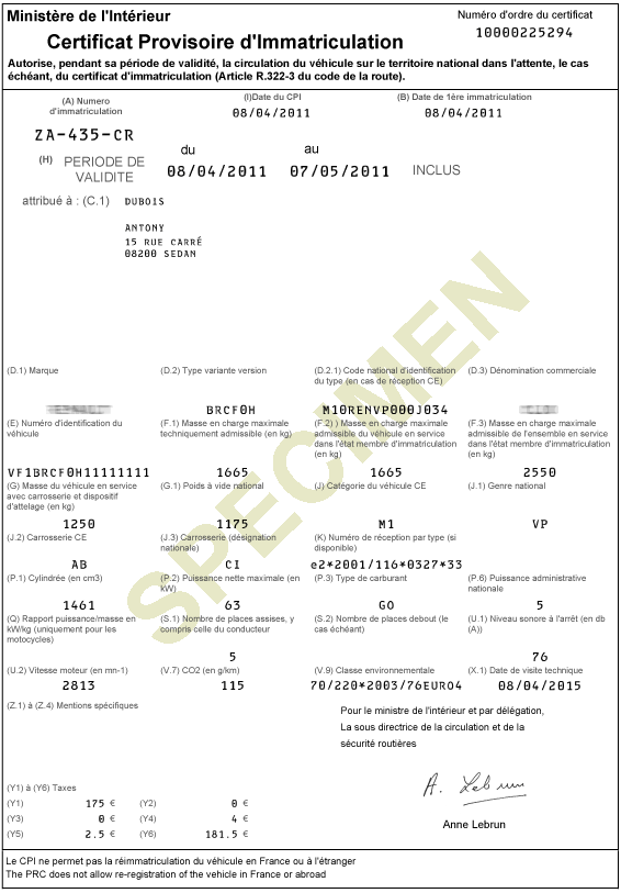locations de vehicule voitures certificat d 39 immatriculation gratuit imprimer
