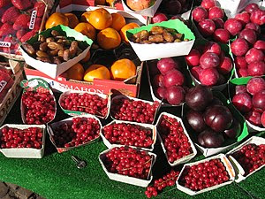 Fruit and berries in a market, Paris, France.