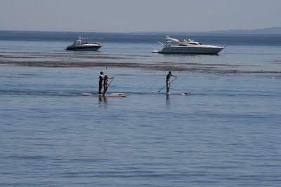 Standup paddling at Paradise Cove Beach in Malibu