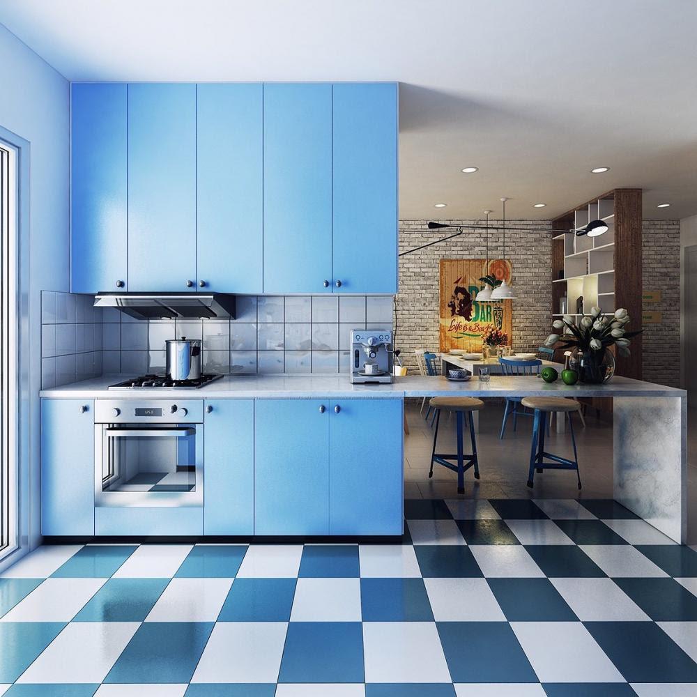thiết kế bếp màu xanh dương