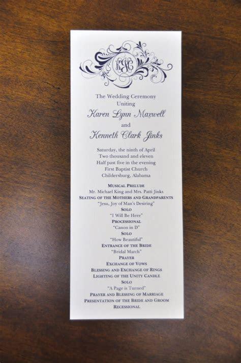 Sample Wedding Programs: March 2011
