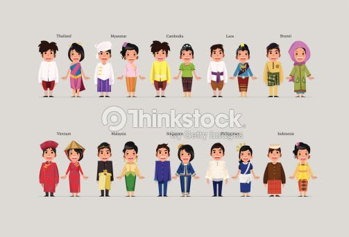 Asean Boys And Girls In Traditional Costume Vector Art  Thinkstock
