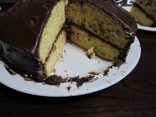 yellow cake and chocolate frosting