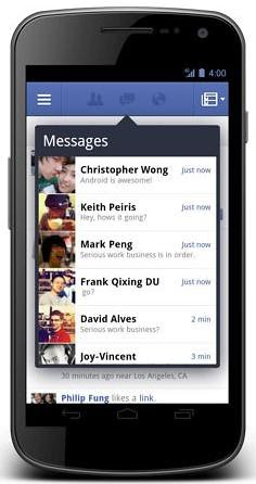 Facebook notification and messages