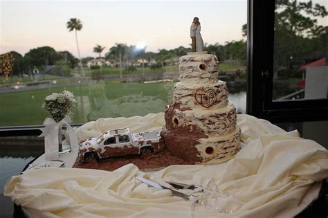 redneck wedding cake complete    wheeler throwing