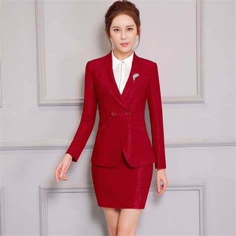 Double button Two Piece Ladies Formal Skirt Suit For