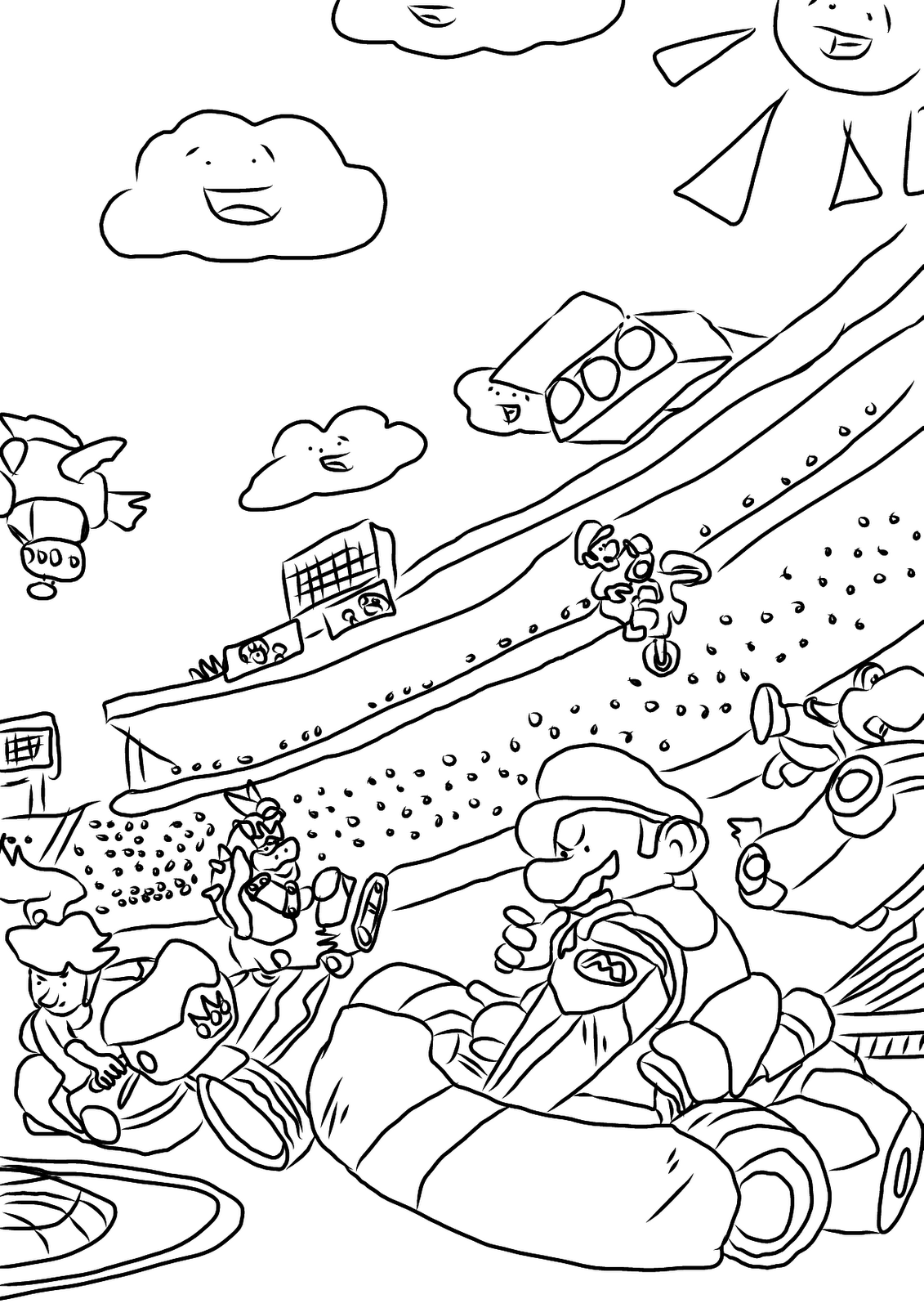 Mario Kart Coloring Page Printable