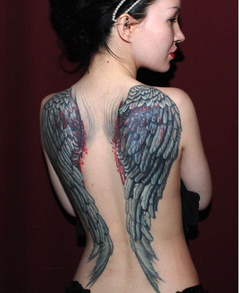 Angel Wings Tattoos On Girl Back Body