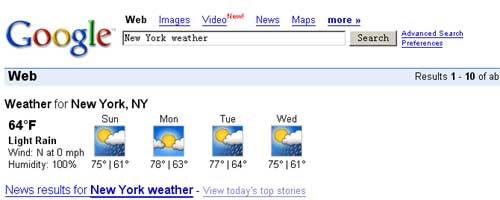英文Google天气搜索