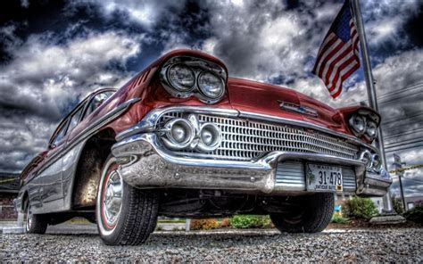 Old red car and the USA flag   HDR wallpaper