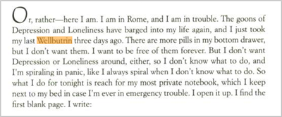 eat pray love paragraph from book about going off anti-depressants