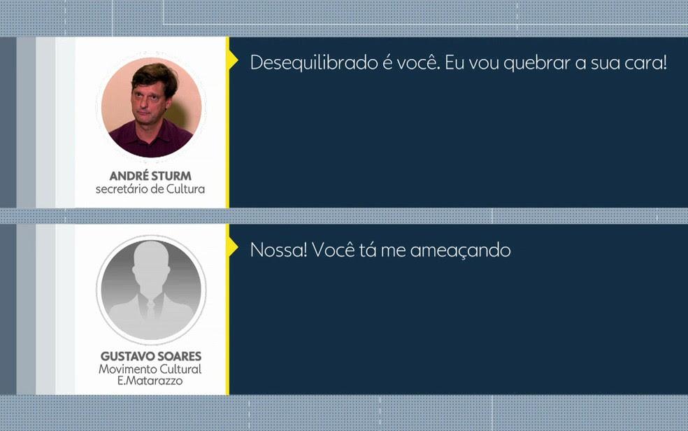 Áudio mostra a discussão entre o secretário e o integrante de movimento cultural (Foto: TV Globo/Reprodução)