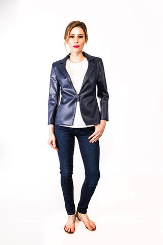 Morgan Faux Leather Jacket in Navy