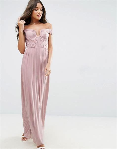 ASOS   ASOS WEDDING Ruched Mesh Bardot Maxi Dress