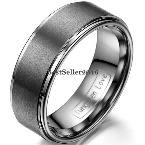 8mm Wedding Band Matte Center Comfort Fit Men's Jewelry