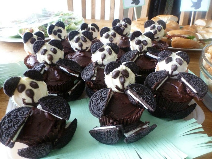 Panda cupcakes I made for a friends Panda themed baby shower