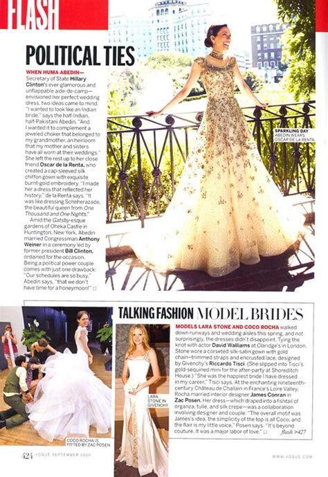 In Vogue, Huma Abedin's wedding dress 2007 designed by her