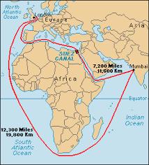 The Suez Canal shortens sea