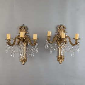 Pair of Large French Brass and Crystal Three Light Sconces: Item 1332