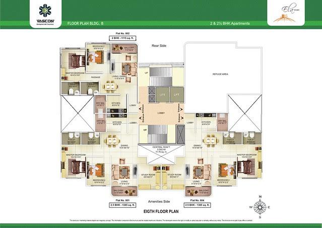 8th Floor Plan of Vascon Ela - 2 BHK 2.5 BHK Flats opposite Suzlon One Earth at Sade-Satara-Nali (Sade-Satra-Nali) Gram Panchayat, Hadapsar, Pune 411028
