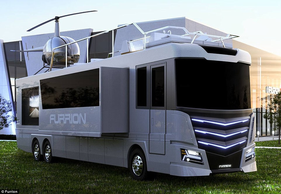 The Elsium RV is a 45ft long, eight-foot wide motor home that comes with its own rooftop hot tub and a two-seater helicopter