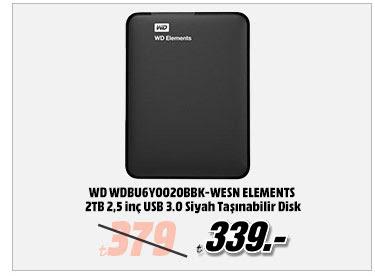 WD WDBU6Y0020BBK-WESN ELEMENTS 2TB 2,5 inç USB 3.0 Siyah Taşınabilir Disk 339TL