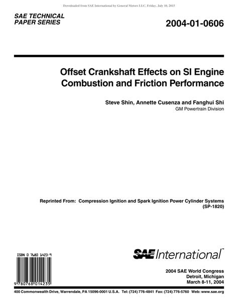 (PDF) Offset Crankshaft Effects on SI Engine Combustion