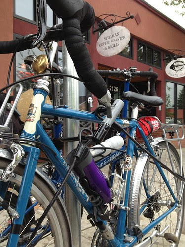 Two blue bikes