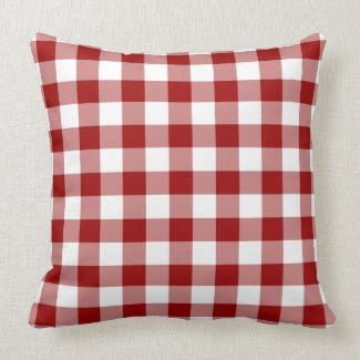 Red and White Gingham Pattern Pillow