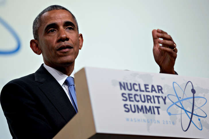 President Barack Obama arrives to speak during a closing session at the Nuclear Security Summit on April 1, 2016, in Washington, D.C.