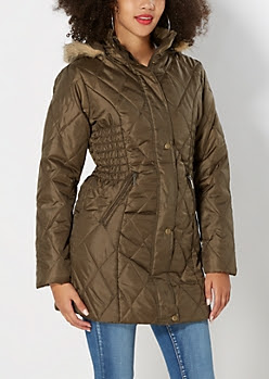 Olive Green Quilted Puffer Coat