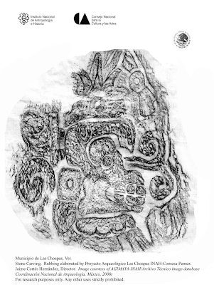 Rubbing of the Carved Monolithic Stone (rubbing elaborated by Proyecto Arqueologico Las Choapas INAH-Comesa-Pemex, Jaime Cortés-Hernández, Director; image courtesy of AGIMAYA-INAH/Archivo Técnico Image Database, Coordinacion Nacional de Arqueologia, Mexico, 2008; for research purposes only, any other uses strictly prohibited)