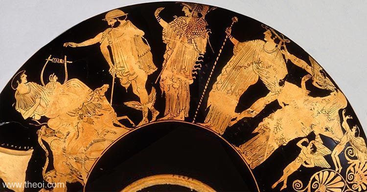 Paris, Hermes, Athena, Hera and Aphrodite | Athenian red-figure kylix C5th B.C. | Antikensammlung Berlin