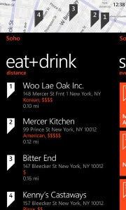 Windows Phone 7 Mango's Local Scout: Eat+Drink guide.