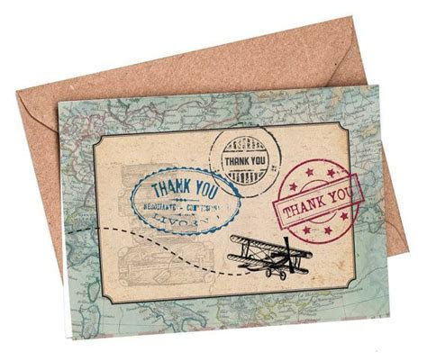 Thank you cards, set of 10, Travel thank you card