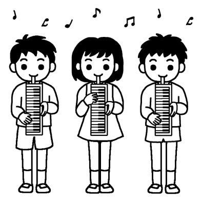 鍵盤ハーモニカ文化祭音楽会合唱大きな行事学校無料白黒