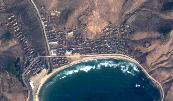 North Korea: perfect A-frame wave near Sonbong