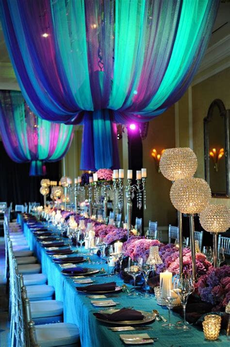 Peacock color reception   Wedding Design   Pinterest