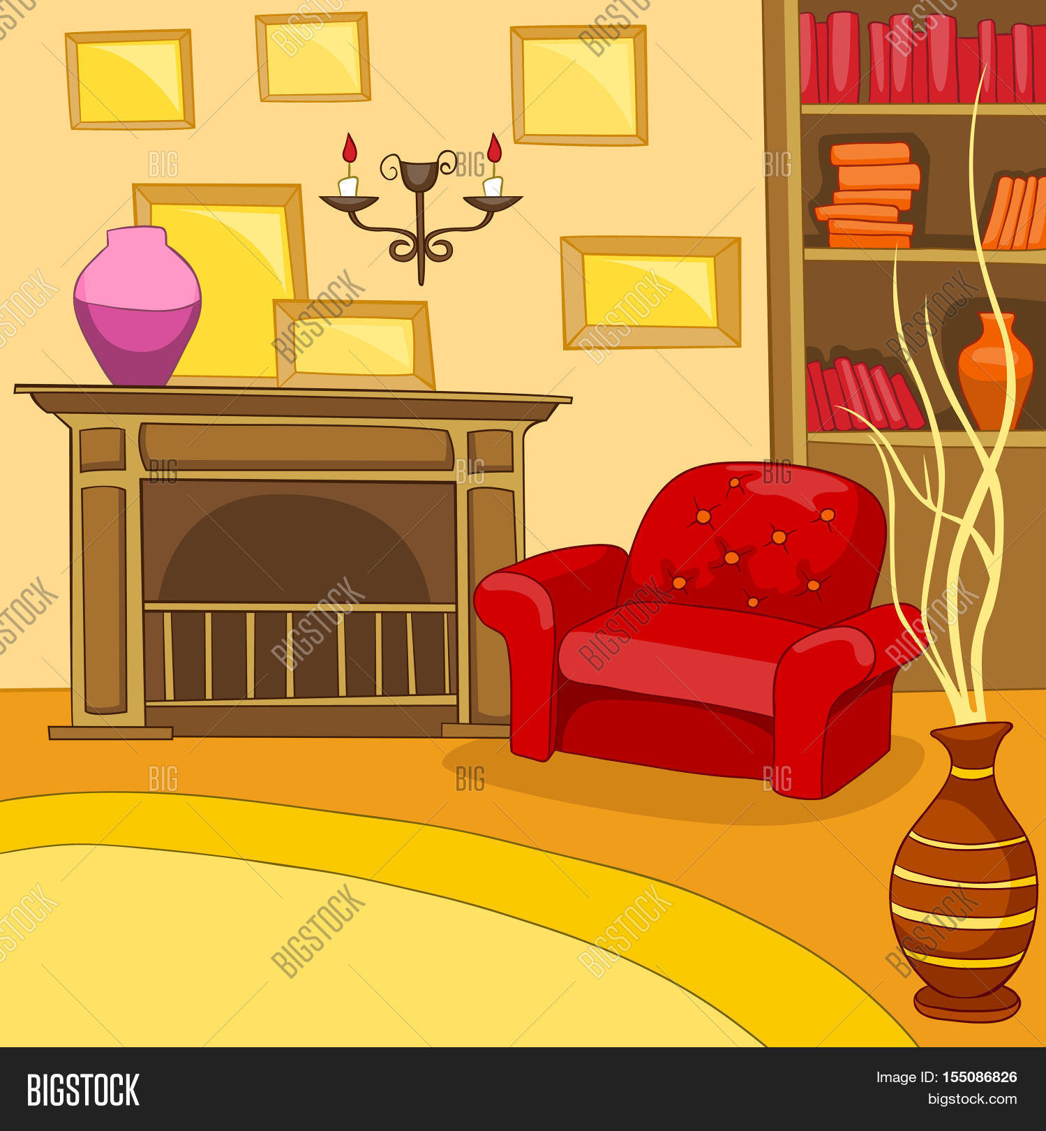 Hand Drawn Cartoon Living Room. Image