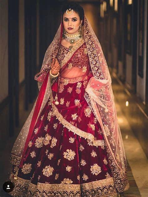 Bridal Red Lehenga with golden work #indainwedding#bride#